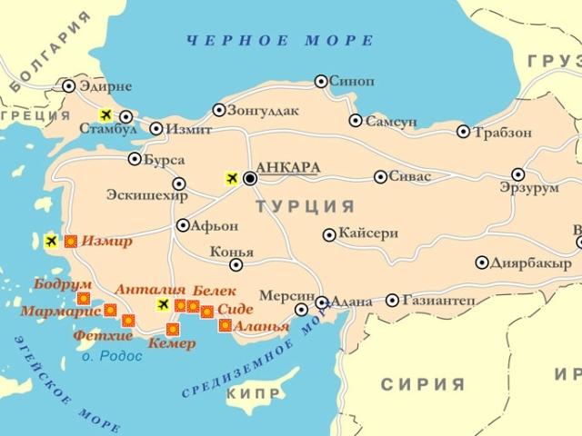 Моря Турции на карте