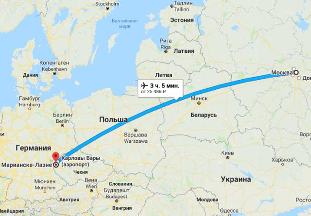 Маршрут из Москвы в Марианские Лазни