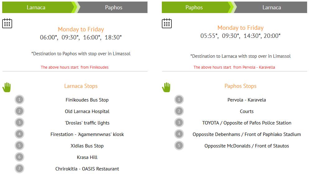 Расписание маршрута Ларнака - Пафос через Лимассол