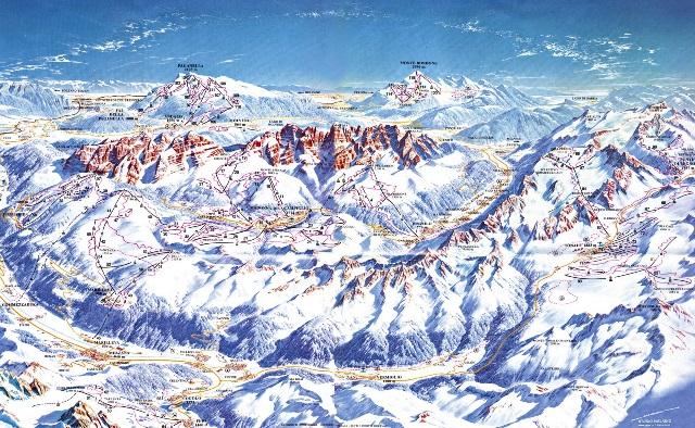 Схема региона катания Кортина д'Ампеццо, Италия - (склоны, трассы, подъемники)