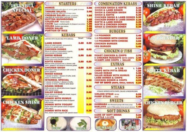 Меню одного из ресторанов уличной еды в Стамбуле