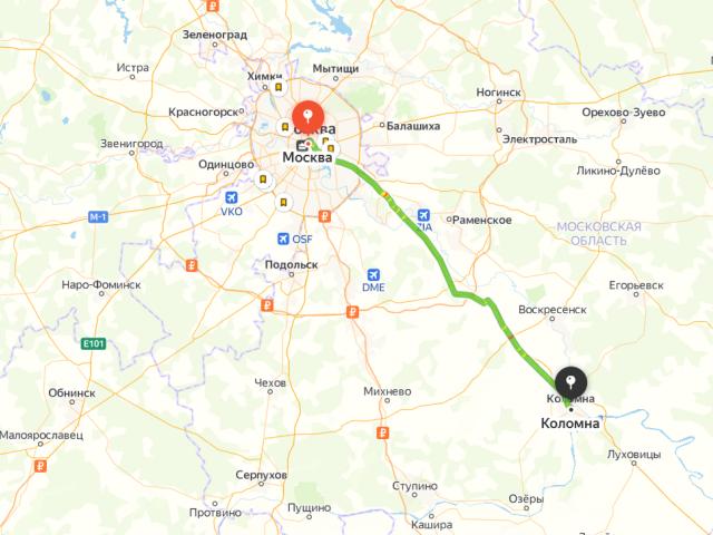 Маршрут из Москвы в Коломну на карте